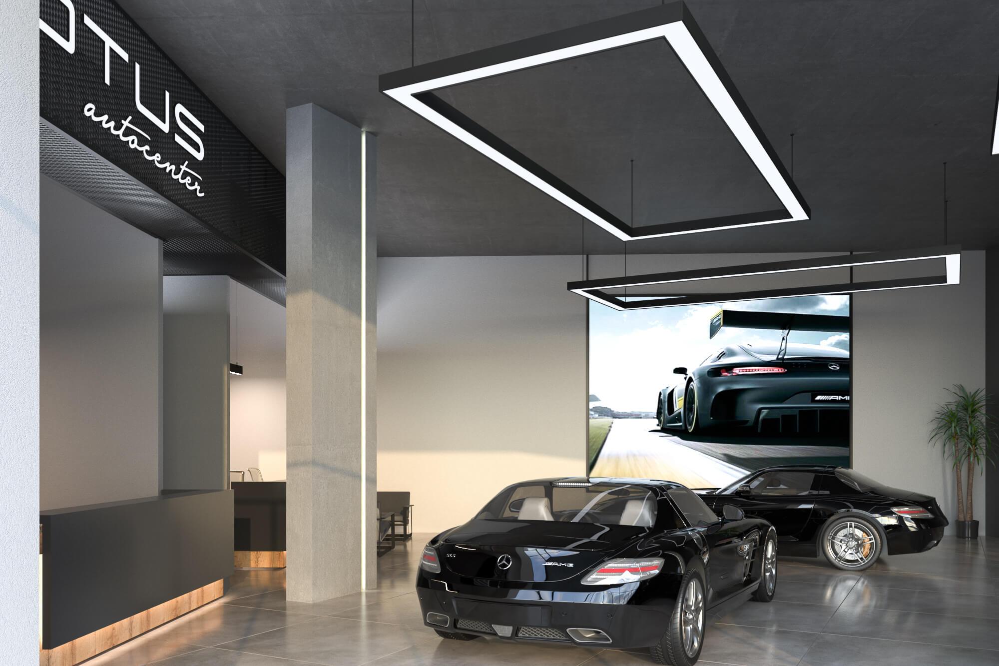 Motus Autocenter Wien von Innen. Showroom mit Mercendes Autos.