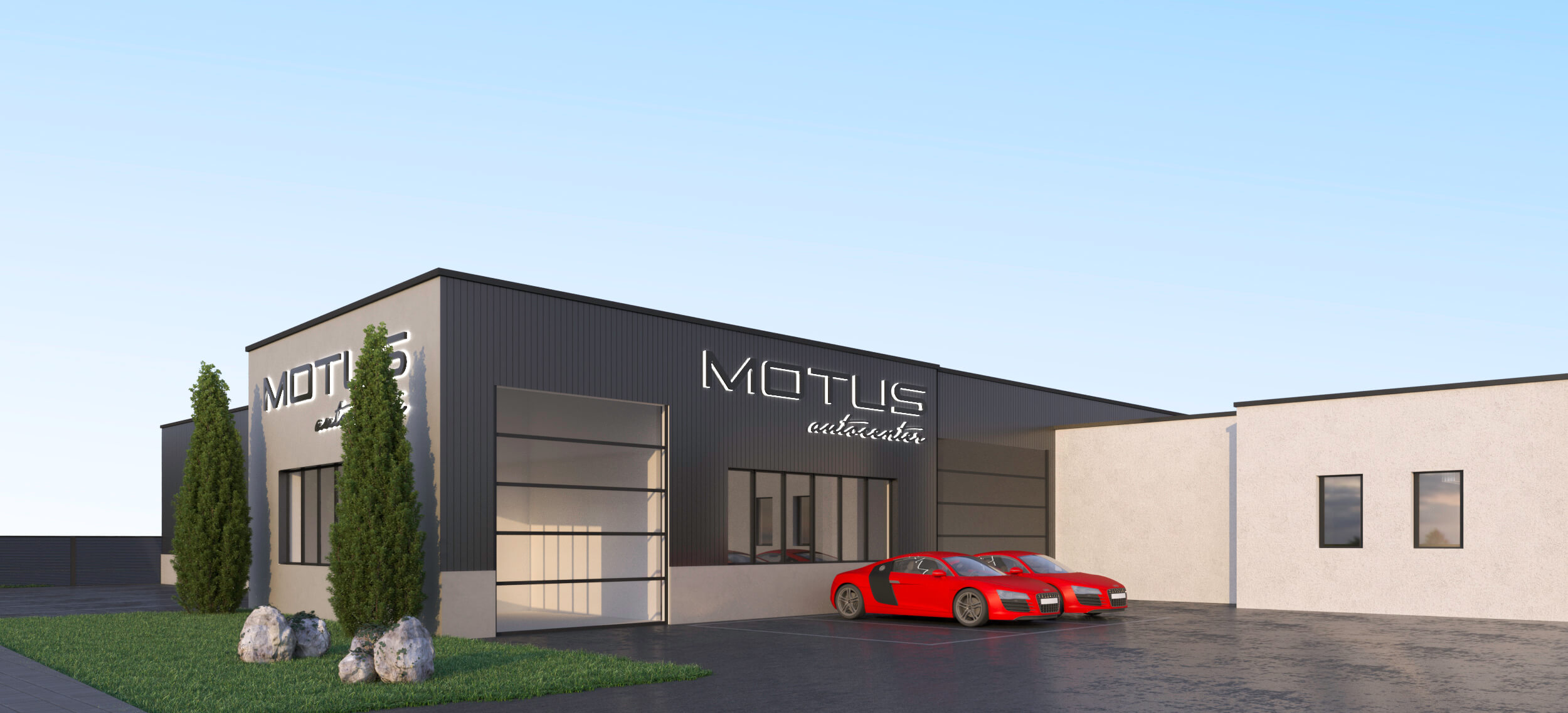 MOTUS Autocenter 3D Rendering - Sicht auf Werkstatt