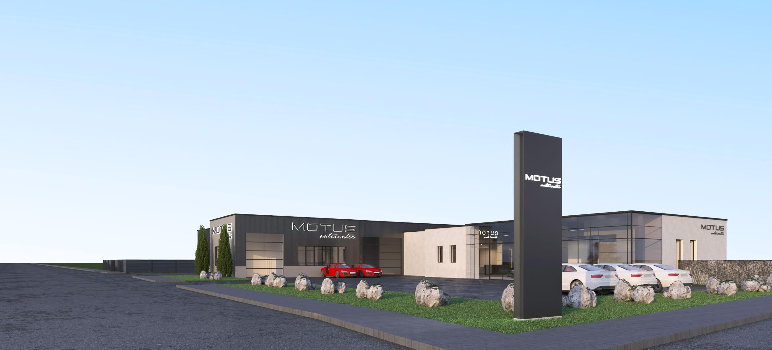 MOTUS Autocenter Rendering - Ansicht diagonal von Vorne
