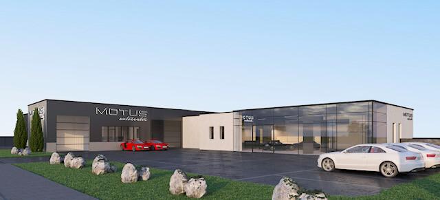 MOTUS Autocenter 3D Rendering - Sicht auf Parkplatz