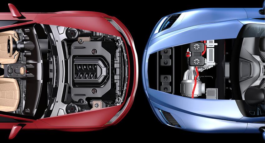 Links Elektroantrieb, rechts Dieselantrieb