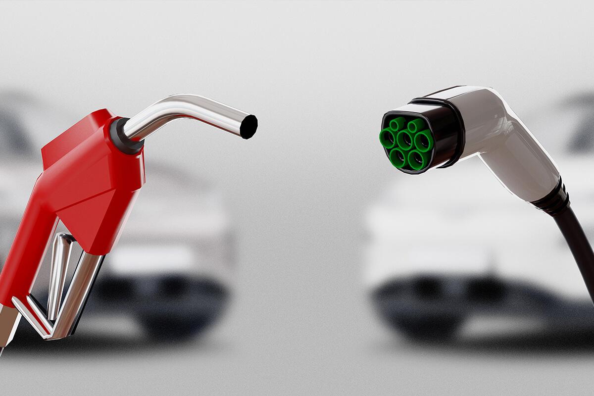 Benzin Zapfhan & Ladekabel für Elektroautos